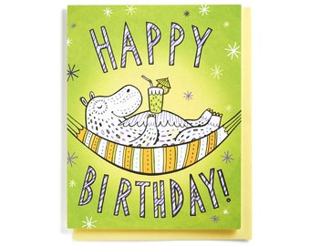 Birthday Card: Hippo relaxing on a hammock, illustrated and hand-lettered in lime, yellow and purple