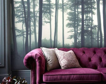 Dreamy Foggy Forest scene mural, Misty forests mural, Forest Haze Wallpaper, Wall décor, Wall decal, Nursery and room décor, Wall art