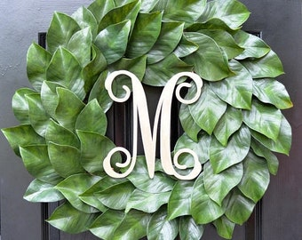 SPRING WREATH SALE Weatherproof Monogramed Magnolia Wreath, Magnolia Leaves Door Wreath, Fixer Upper Southern Decor Year Round Wreath Southe