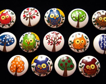 "OWLS & TREES ""BROOKE"" - Hand Painted Wooden Knobs - Set of 14 - Great for Kid's Room, Nursery or Office"