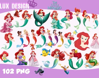 102 The Little Mermaid ClipArt- PNG Images 300dpi Digital, Clip Art, Instant Download, Graphics transparent background Scrapbook