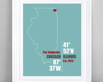 Illinois Coordinate Wedding or Anniversary Gift, Any State or Country Map Print, Bride and Groom Names, Place and Date, Bridal Shower Gift