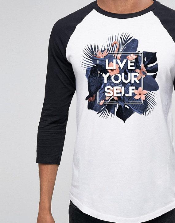 Live Your Self | Unisex Raglan T-Shirt | Tropical leaves | Parrots and butterflies | Motivational quote design | indigo peach |  ZuskaArt