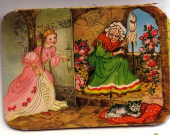 Early 20th century trade card from NYC - Bright colors!  Spinster and her Cat.