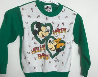 Vintage 80s Mickey and Minnie Mouse Happy Holidays Sweatshirt