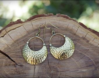 Bronze earrings. Brass Earrings tribal ethnic style