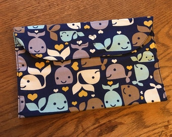 Diaper Clutch, Wipes Case - {Navy Blue Whales}