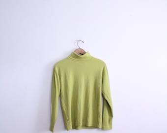 Lime Green 90s Turtleneck Shirt