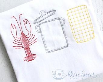 Crawfish Boil Vintage Embroidery Applique Shirt - Personalized Unisex Clothing