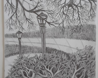 ORIGINAL Graphite Landscape drawing
