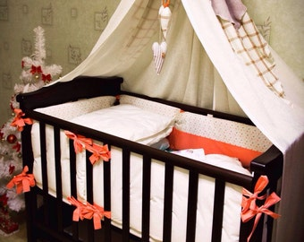 Bed canopy - Pure Linen - Nursery - Custom color