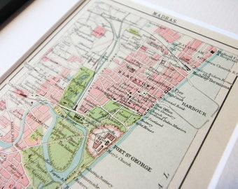 Vintage framed world maps etsy framed madras chennai city map antique travel maps india vintage framed 1900s gift home decor world gumiabroncs Images