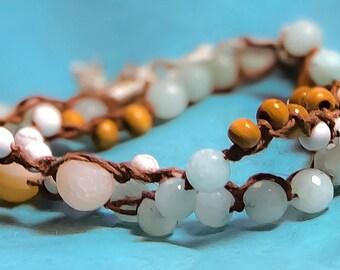 Matt drusy agate and aquamarine beaded bracelet/ knotted wrap bracelet/ braded wrap bracelet/ double wrap bracelet/ gemstone wrap bracelet