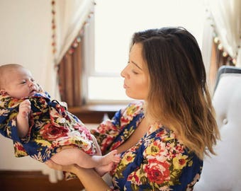 High quality, Mommy and me, labor robe, floral delivery robe, floral labor robe, maternity robe, delivery robe, labor and birth