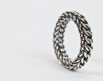 Mens Wedding Band, Fused Argentium Sterling Silver Chainmaille Ring Unique Size 4 5 6 7 7.5 8 8.5 9 9.5 10 10.5 11 11.5 12 12.5 13 14 15 16