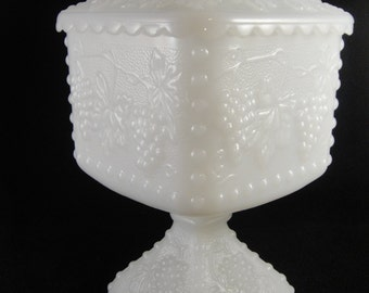 Milk Glass Covered Candy Dish Compote Grape pattern
