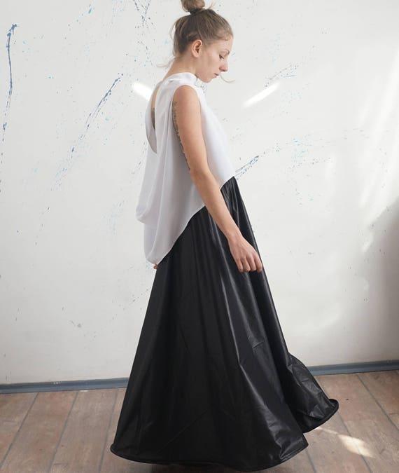 Flared Black Party Skirt Pants, Full High Waisted Skirt Dress, Bridesmade Bustier Skirt Dress, Taffeta Flared Skirt Dress
