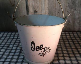 Vintage Hotel/Motel Ice Bucket 1950's Tin Ice Bucket Pink Bucket Pink Pail