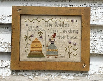 NEW! NOTFORGOTTEN FARM Feeding the Bees counted cross stitch patterns at thecottageneedle.com bee skep beehive