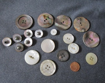 Vintage Mother of Pearl and Abalone Buttons
