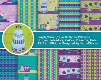 Birthday Digital Paper Printable Watercolor Happy Birthday Scrapbooking Backgrounds Birthday Party Patterned Papers Cakes Balloons Presents