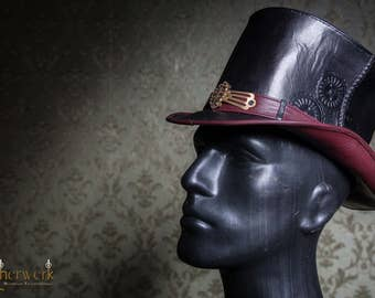 Ornate Leather TopHat black,  Size 55-56,5cm, Single Piece
