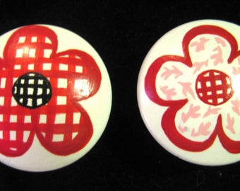 Set of 8 RED FLOWERS - Hand Painted Knobs Pulls - from Kids Line Lady Bug Design