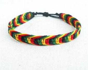 Rasta bracelet,Reggae bracelet,Macrame bracelet,Surf bracelet,Men bracelet,Friendship bracelet,Macrame jewerly,Adjustable,Unisex,Rastafarian