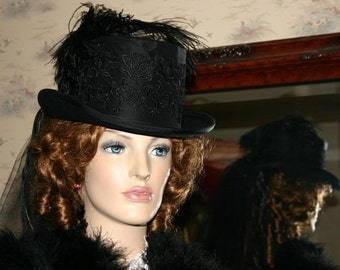 Victorian Hat, Ascot Hat, Edwardian Hat, Riding Hat, Steampunk Hat, Gothic Hat, Mourning Hat, Black Hat Top Hat - Victoria