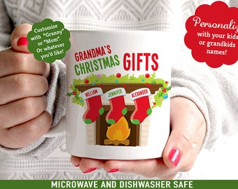 Personalized Christmas Mug - Great Gift for Grandma or Mom - Customize with Kids Names