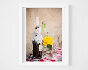 Germany photograph - European outdoor cafe print - European wall decor - Black and white photography - Colorful kitchen wall art - 11x17