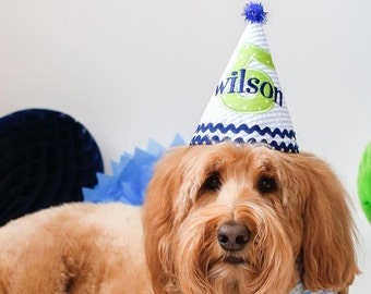 Dog Birthday Hat - Dapper blue and white stripes with green and navy blue accents - Free personalization
