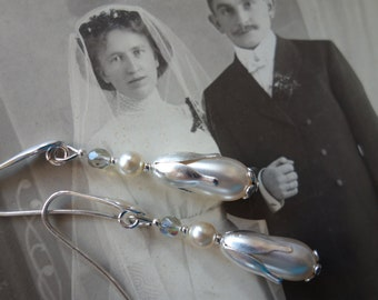 Earrings * Bridal Jewelry *-at 925 silver ear hook-stamped jewelry by C) made by Marie-