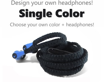 Design Your Own Headphones - Choose Your Own Custom Colors & Earbuds - Flat Wrapped Tangle Free Earphones - Skullcandy, Sony, Apple Earpods