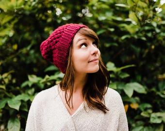 Burgundy Slouchy Hat / / Puff Stitch Slouchy Beanie / / Maroon Crochet Beanie
