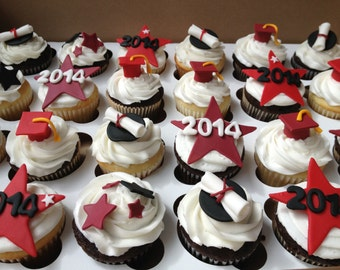 Graduation diplomas, caps, stars with Year, and Stars handmade edible fondant cupcake toppers made by FancyTop Cupcake
