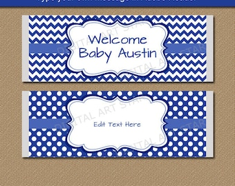 Blue Candy Bar Wrappers, Boy Baby Shower Candy Labels, Blue Chocolate Bar Wrapper Template, Printable Birthday Party Favors Instant Download