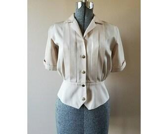 1950's Vintage Greif Career Apparel subtle striped front pleated peplum blouse.