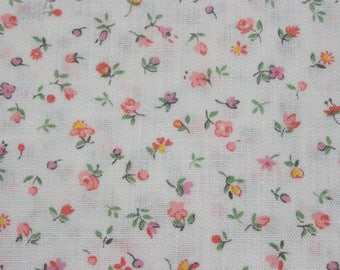 Vintage Tiny Print Pink Floral Rose Print Cotton Fabric, Small Print Flower Doll Dress, Quilting Sewing Cloth Fabric, 2 yards