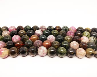 Tourmaline Beads  Natural Beads Multicolor Beads Tourmaline 10mm Beads Bracelet Beads for Jewelry Making Jewelry Beads Necklace Beads