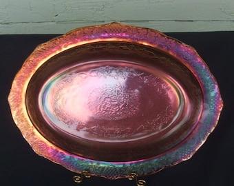 Orange Iridescent Carnival Glass Platter.