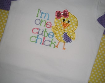 Girls Easter Chick embroidered shirt size 2T Ready to ship, girls shirt, Spring shirt