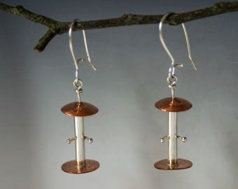 Bird Feeder Earrings for the Bird Watcher - Fowl Enthusiast Earrings - Audubon Birder Theme Earring
