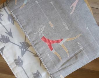 Grey Antlers crib blanket. Cot blanket. Baby bedding. Crib bedding.