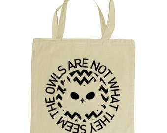 THE OWLS are not what they seem tote bag. Inspired by the cult TV series Twin Peaks, natural tote bag 100% cotton