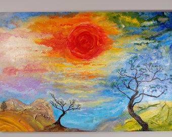 Sunset over Lanscape Acrylic
