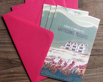 3 Wuthering Heights cards, illustrated cards with envelopes