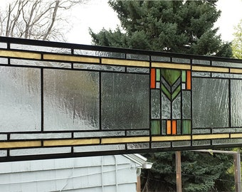 "Stained Glass Window Panel--Prairie School Style Transom Panel --8"" x 33"""
