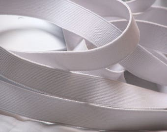 Woven flat white elastic by the yard