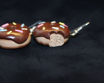 Chocolate Frosted Donut Earrings
